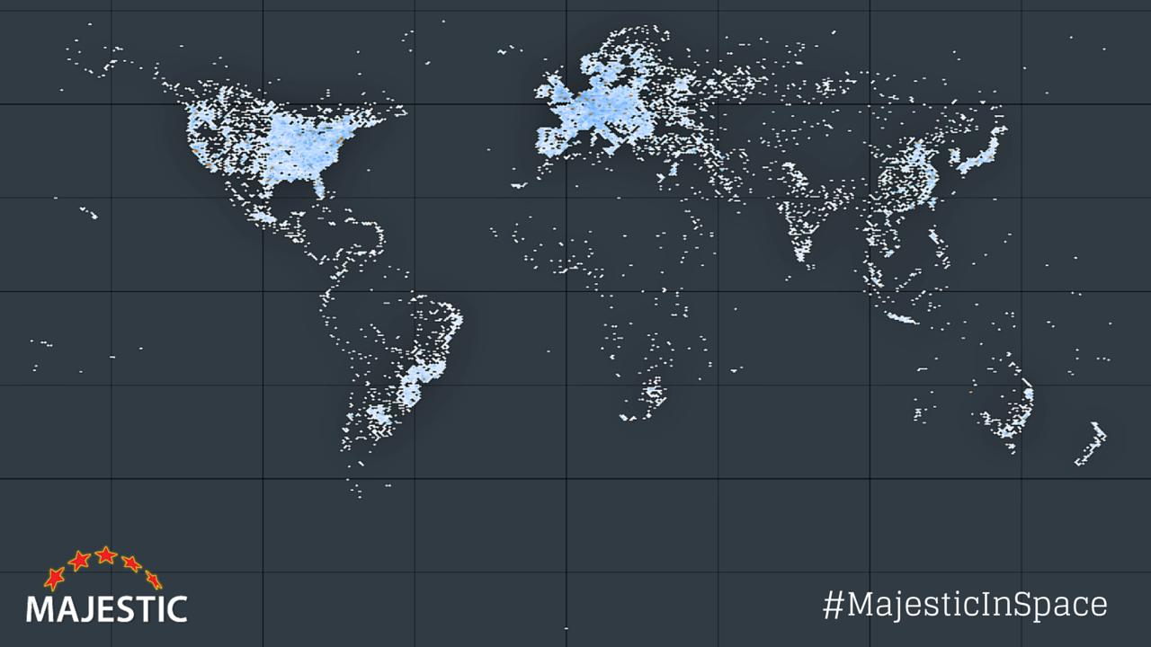 Representación en un mapa de los servidores de internet y centros de datos del mundo